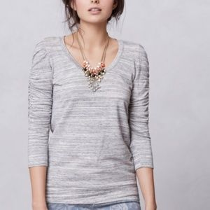 Anthropologie Dolan T-shirt Ruched Sleeve Top
